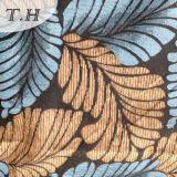 Tela de tapicería del telar jacquar del Chenille con el azul y las hojas grandes de Yellew