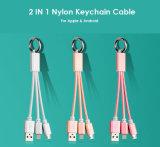 линия кабели 2in1 Keychain Nylon заряжателя зарядного кабеля USB штепсельной вилки металла микро- для iPhone7 7s 6 6s плюс 5s iPad миниый Android Samsung 3