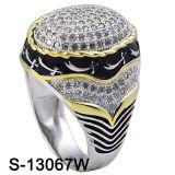 L'oro giallo CZ dell'argento sterlina dell'anello 925 degli uomini squilla