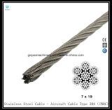 De gegalvaniseerde Kabel van het Staal 7X19 - de Kabel van Vliegtuigen