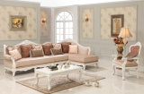 Sofà classico dell'angolo del tessuto impostato con la presidenza dell'oggetto d'antiquariato del salotto del Chaise ed il sofà sezionale della Tabella classica per il salone