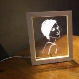 lumières en bois de nuit de la décoration USB de cadre de tableau de 3D DEL