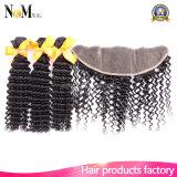 Fechamento frontal do laço apertado brasileiro do cabelo Curly com cabelo humano brasileiro do Virgin dos pacotes 3 pacotes com o Frontal Curly do fechamento