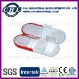 Forma de la cápsula personalizó la caja plástica de la píldora del logotipo con el llavero