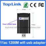 Carte réseau sans fil 11AC 2t2r 1200Mbps à grande vitesse à deux bandes d'USB 3.0 avec l'antenne pliable