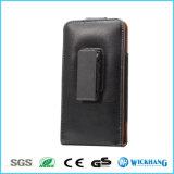 Caja vertical del teléfono de la pistolera del clip de la correa de cintura del cuero genuino