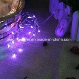 Шнур СИД звёздный освещает серебряную Coated батарею медного провода - приведенную в действие Cr2032 для таблицы рождества партии