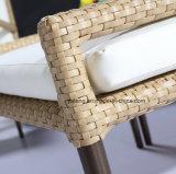 Jogo de café de vime ao ar livre novo da barra do café da cadeira da mobília do Rattan com otomano e tabela
