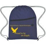 Водоустойчивым напечатанный полиэфиром мешок Drawstring Backpack с карманн