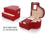 Doos van de Juwelen van het Leer van de Vorm van de Piano van de manier de Rode