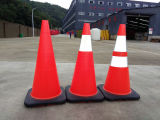 "28 ""Hongqiao Orange Safety Traffic Cones en PVC, Black Base W / 2 Ruban réfléchissant"