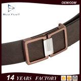 Echtes Schwarzes und Brown-Rindleder-Leder-glatte Stahlfaltenbildung-Riemen