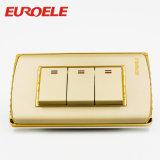 Interruptor elétrico da parede de 2 grupos da cor universal do ouro do PC