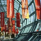 装飾的ファブリック旗、屋内広告ファブリック旗の表示を現れなさい