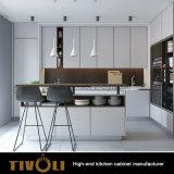 ハンドルの自由なメラミン現代アパートのホームデザイン台所家具(AO024)