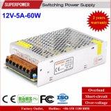LED Linghting를 위한 12V 5A 60W 엇바꾸기 전력 공급