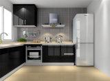 Черная высокая кухня лака лоска