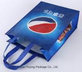 Sacchetto di Tote non tessuto dell'azzurro con stampa personalizzata