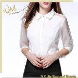Верхние части женщин рубашки длинней втулки типа офиса вскользь Silk