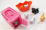 Het leuke Plastic Mini Dierlijke Vastgestelde Stuk speelgoed van het Spel van de Kat en van de Hond voor Jonge geitjes