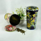 Kundenspezifischer Blumen-Vasen-Form-Zinn-Kasten für Tee