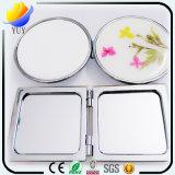 Espelho verdadeiro do cosmético da flor do quadrado da borda do metal