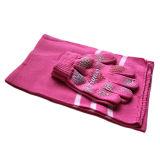 しまのある編まれた手袋およびスカーフ(JRI002)