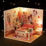 Chambre de poupée en bois rose de jouet de 2017 belle DIY pour des gosses