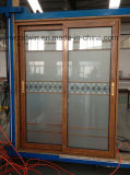 Puerta deslizante de aluminio caliente del vidrio Tempered del doble del vendedor de Guangdong Woodwin (YS-100A)