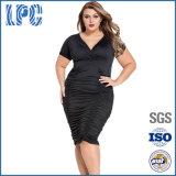 Schwarzer Farbe V-Großhandelsstutzen 4XL der festen reizvollen Frauen plus Größen-Kleid