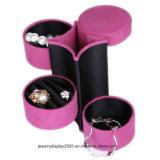 Случай ювелирных изделий замши розовый с 3 слоями хранения ювелирных изделий