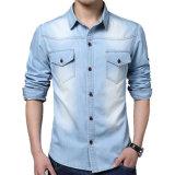 OEMの人のデニムのワイシャツの方法細い適合の偶然のジーンのワイシャツ