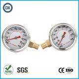 002 Calibre de pression de tube Bourdon rempli d'huile liquide avec acier inoxydable