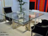 Tabela de jantar quadrada moderna com pé de aço dos projetos geométricos (NK-DT268-1)