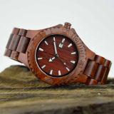Houten Horloge van het Sandelhout van de Greep van het Roestvrij staal van het Embleem van de douane het Rode