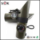 Neuer Entwurf bewegliche Multifunktions7 in 1 Pfeife mit Kompass-Thermometer-Taschenlampen-Vergrößerungsglas-im Freien Emergency Hilfsmittel