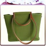 Bolso de compras no tejido de papel de la maneta de la lona del algodón del cuero del bolso de compras del regalo (X024)