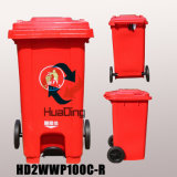 pattumiera di gomma di plastica della rotella dello scomparto di immondizia 100L per esterno
