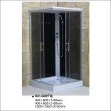 Terminar el sitio de ducha con el vidrio Tempered de la pintura negra