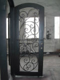 Porta elegante nova do ferro feito com placa dobro vidro isolado