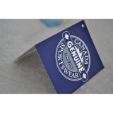 Модное изготовленный на заказ фирменное наименование сложило бирку Hang бумаги качания печатание