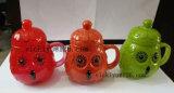 vaso di vetro del girasole verde 300ml per acqua, latte con il coperchio