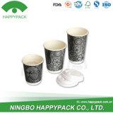 Taza doble del papel de empapelar de Happypack con las tapas plásticas
