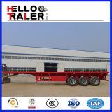 Q345炭素鋼の頑丈な三車軸平面トラックのトレーラー50トンの