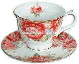 Tasse et soucoupe décorées (GS0170C-2D)