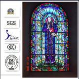Vitrail d'église de conception moderne pour la décoration de fenêtre et de porte