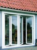 Ventana de aluminio plegable de la doble vidriera de los cuatro paneles