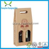 Rectángulo de regalo de encargo del papel de botella de vino del buen precio con la maneta de los PP