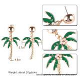 新しい到着の金によってめっきされるココヤシの木の形の模造宝石類の方法イヤリング