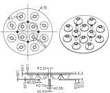 Downlight Spot Lamp Lens/R70mm Tewlve en Uno Lens (CREE XTE de 15/30/60 grado)